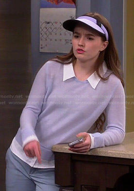 Eve's grey sweater and white shirt on Last Man Standing