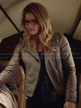 Felicity's grey leather jacket on Arrow