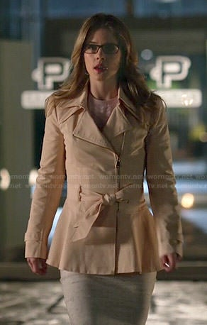 Felicity's peach peplum zip front coat on Arrow
