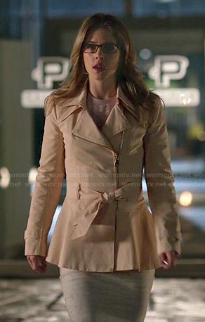 Felicity's peach peplum zip front coat on Arrow