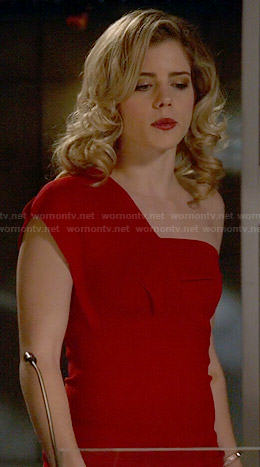 Felicity's red one-shoulder dress on The Flash