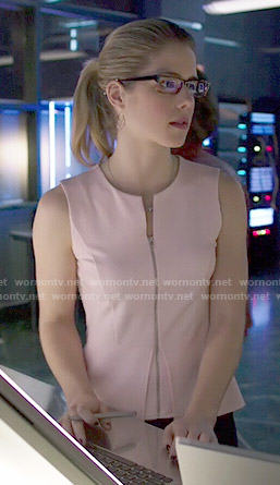 Felicity's zip front peplum top on Arrow