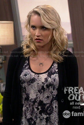 Logan's neon red floral lace crop top on Young and Hungry