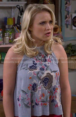 Gabi's floral embroidered top on Young and Hungry
