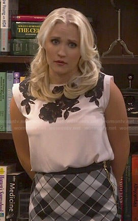 Gabi's blush pink top with black lace and checked asymmetrical skirt on Young and Hungry