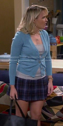 Gabi's blue cardigan and plaid skirt on Young and Hungry