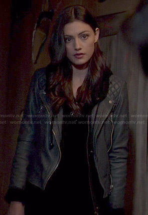 Haley's black leather moto jacket on The Originals