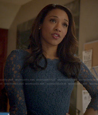 Iris's blue lace dress on The Flash