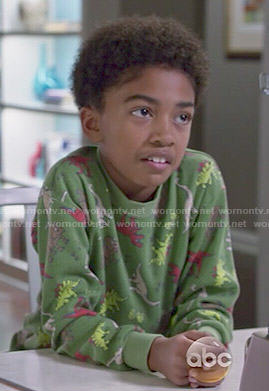 Jack's green dinosaur print pajamas on Black-ish