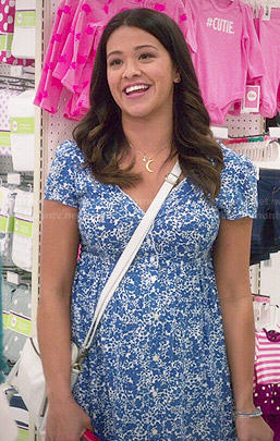 Jane's blue floral dress on Jane the Virgin