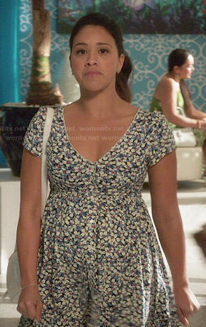 Jane's blue floral v-neck dress on Jane the Virgin