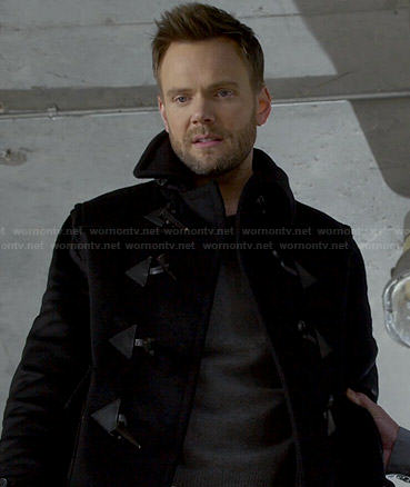Jeff's black toggle coat on Community