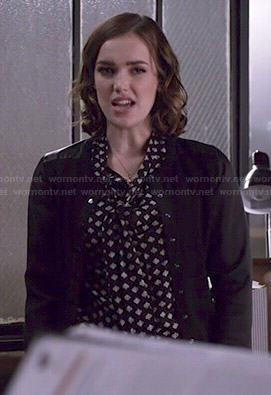 Jemma's spade printed blouse and leather shoulder cardigan on Agents of SHIELD