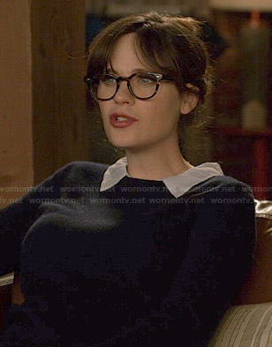 Jess's navy collared sweater on New Girl