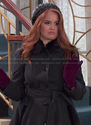 Jessie's black coat with fur collar on Jessie