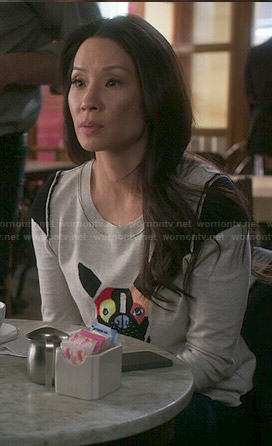 Lucy Liu dog sweater