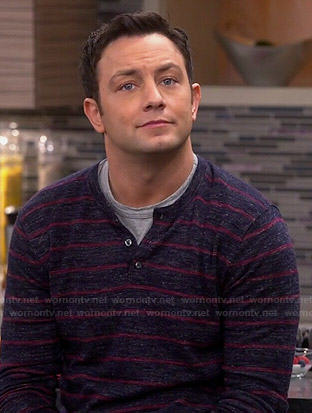 Josh's navy and red striped henley on Young and Hungry
