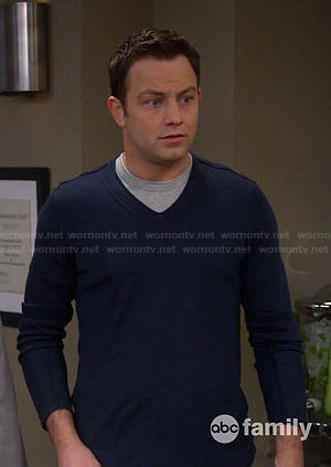 Josh's blue v-neck sweater on Young and Hungry