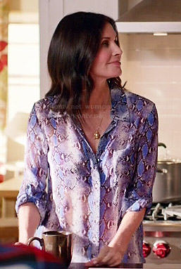 Jules's blue snake print shirt on Cougar Town