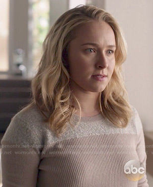 Juliette's pink sweater with fleece panel on Nashville