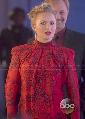 Juliette's red leopard print high-neck blouse on Nashville