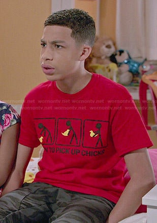 Junior's red 'How To Pick Up Chicks' tee on Black-ish