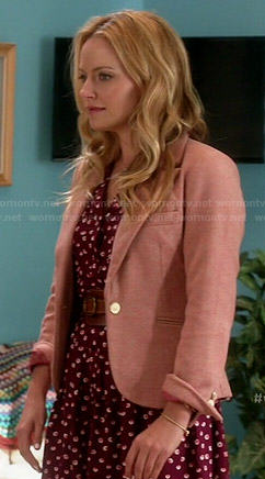 Karen's red printed shirtdress and pink herringbone blazer on Weird Loners