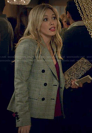 Kelsey's checked double-breasted blazer on Younger