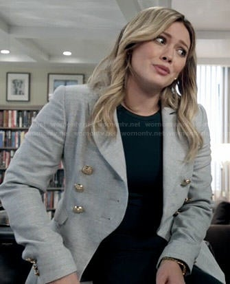 Kelsey's grey double breasted blazer on Younger