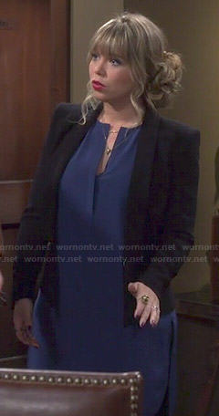 Kristin's blue split neck shift dress on Last Man Standing