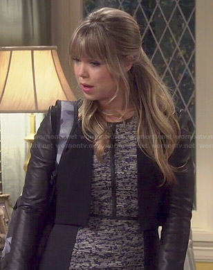 Kristin's grey tweed dress with black side panels on Last Man Standing