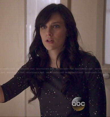 Layla's black star print top on Nashville