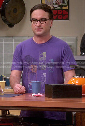 Leonard's purple bird graphic tee on The Big Bang Theory