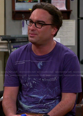 Leonard's purple graphic tee on The Big Bang Theory
