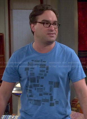Leonard's blue ampersand tee on The Big Bang Theory