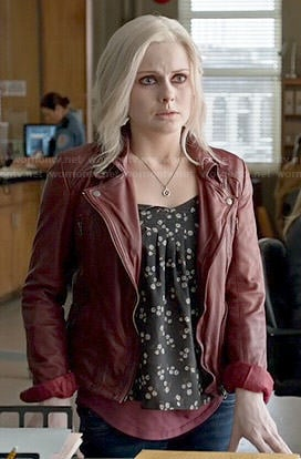 Liv's black floral top and red leather jacket on iZombie