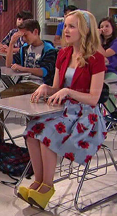 Liv's blue floral dress and yellow wedges on Liv and Maddie