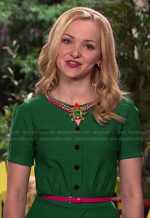 Liv's green button front top on Liv and Maddie