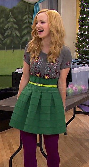 Liv's green skirt and grey floral beaded top on Liv and Maddie