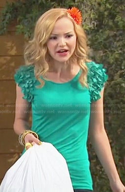 Liv's green top with ruffled sleeves on Liv and Maddie