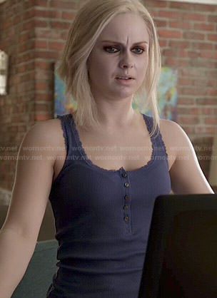 Liv's navy blue lace trim tank top on iZombie