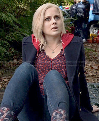 Liv's navy and red printed blouse on iZombie