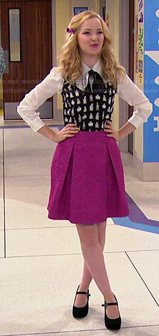 Liv's perfume print top and pink pleated skirt on Liv and Maddie