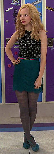 Liv's dotted top and teal lace skirt on Liv and Maddie