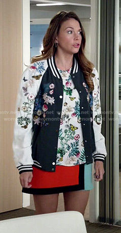 Liza's floral bomber jacket, floral top and colorblock skirt on Younger