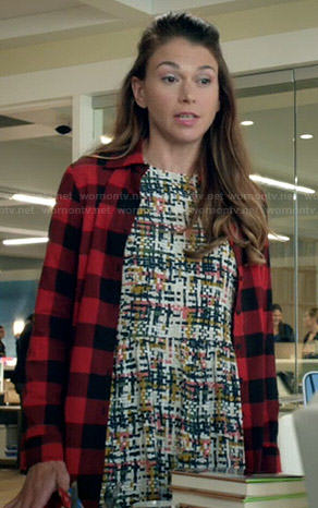 Liza's printed dress and long red buffalo checked shirt on Younger