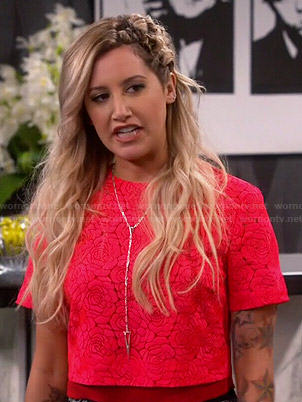 Logan's red floral lace crop top on Young and Hungry