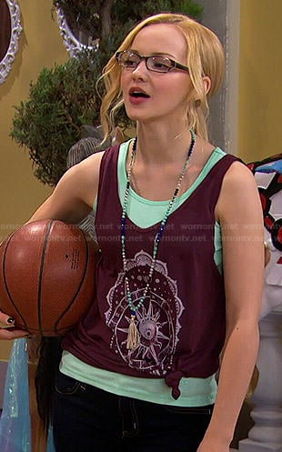 Maddie's purple sun graphic tank top on Liv and Maddie