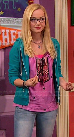 Maddie's pink embroidered top on Liv and Maddie