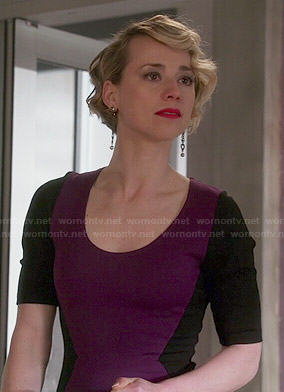 Margaux's purple dress with black sleeves on Revenge